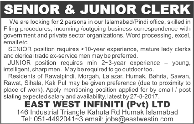 Jobs In East west infiniti Islamabad 20 Aug 217
