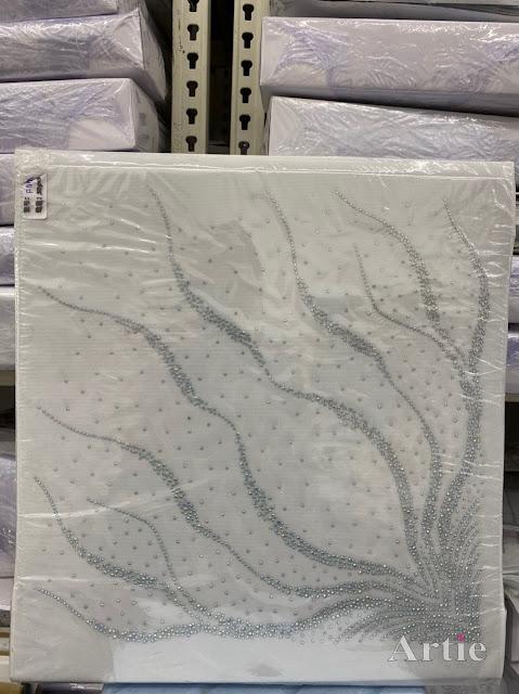 Hotfix stickers dmc rhinestone aplikasi tudung bawal fabrik pakaian corak merak melingkar silver
