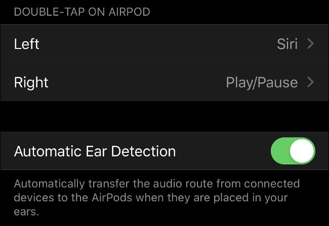 """خيار """"الكشف التلقائي عن الأذن"""" في نظام iOS."""