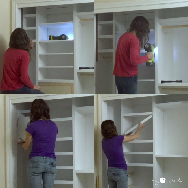 How to trim out adjustable shelves in a closet, MyLove2Create