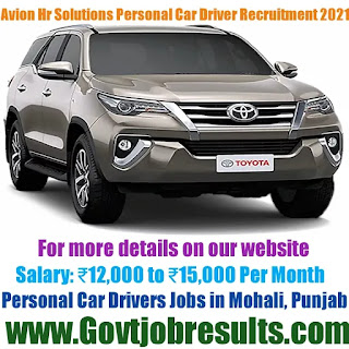 Avion Hr Solutions Personal Car Driver Recruitment 2021-22