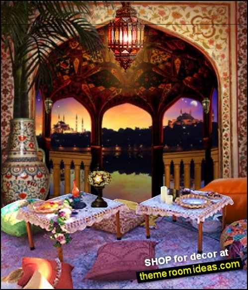 Moroccan party decorating Arabian nights party decor aladdin party ideas jasmine decor genie decorations