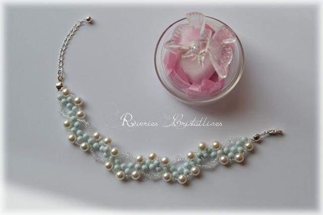 bracelet mariée romantique tissage perles et cristaux