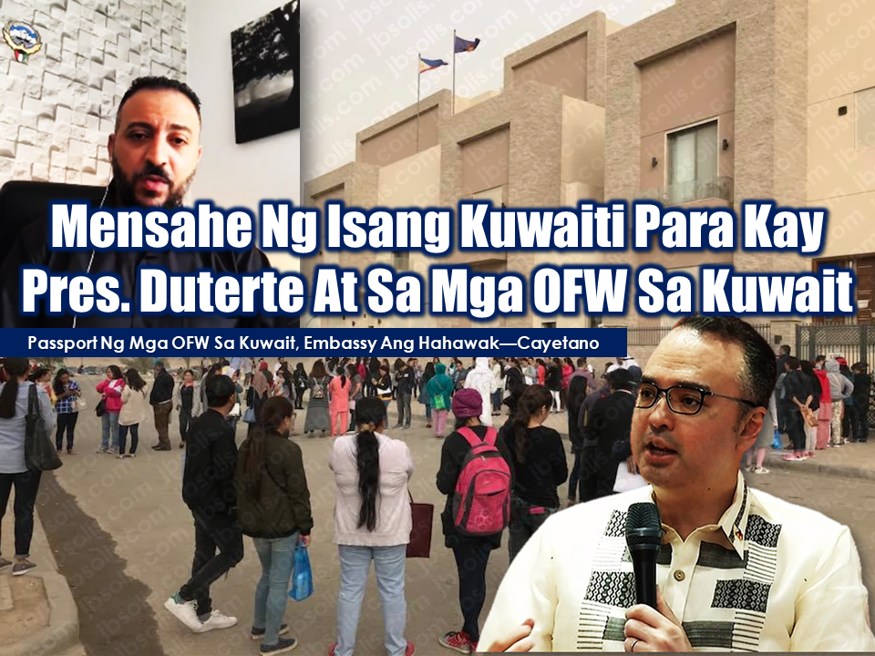 "A Kuwaiti citizen, in his video sends a strong message about how they love Filipino workers in Kuwait and how he admired President Duterte's decision to protect the OFWs working in Kuwait.  Meanwhile, the Department of Foreign Affairs (DFA) is proposing that passports of domestic workers in Kuwait should remain with the Philippine Embassy to prevent abuse.  Advertisement        Mohamed Aldhufairi, a Kuwaiti citizen, in his video sends a strong message about how they love Filipino workers in Kuwait and how he admired President Duterte's decision to protect the OFWs working in Kuwait.  In his social media account, Mr. Aldhufairi started by saying that his message is for all Filipinos in Kuwait. ""You guys are amazing. We love you so much,"" he said.  A Kuwaiti citizen, in his video sends a strong message about how they love Filipino workers in Kuwait and how he admired President Duterte's decision to protect the OFWs working in Kuwait.  Advertisement     Mohamed Aldhufairi, a Kuwaiti citizen, in his video sends a strong message about how they love Filipino workers in Kuwait and how he admired President Duterte's decision to protect the OFWs working in Kuwait.  In his social media account, Mr. Aldhufairi started by saying that his message is for all Filipinos in Kuwait. ""You guys are amazing. We love you so much,"" he said.     Sponsored Links        The Kuwaiti citizen also has a message to President Duterte.   ""Hi Mr. President of the Philippines, I have a great respect for what you did. It shows how much you care about your citizens, that's amazing. That's really amazing. But we just love your people. We can't just let them go. We care about them,"" Aldhufairi said.    Earlier this month, President Rodrigo Duterte ordered a suspension of deployment of OFWs in Kuwait following the unsolved cases of maltreatment and abuse, some ended in deaths of OFWs deployed in Kuwait. Recent discovery of the body of Joanna Demafelis inside a freezer of the flat occupied by her Lebanese and Syrian employer has elevated the tension which resulted to total ban of deployment of newly hired OFWs who are to be deployed in Kuwait. President Duterte also said that Filipinos who want to leave Kuwait may do so in 72 hours at the expense of the Philippine government.    At the latter part of the video, Aldhufairi visited a few shops where Filipinos work showing how he appreciate their work ethics.      Meanwhile, the Department of Foreign Affairs (DFA) is proposing that passports of domestic workers in Kuwait should remain with the Philippine Embassy to prevent abuse.  DFA Secretary Allan Peter Cayetano said the practice of some employers in Kuwait to hold the worker's passports prevent Filipinos from leaving and report abuses.   Cayetano said that the common problems experienced by Filipino workers in Kuwait are as follows: -Underpayment -Delayed or non-payment of salaries -Non-payment of overtime -Prolonged working hours -Transfer of one worker from employer to employer -Transfer of OFW from Kuwait to another country in the Gulf Cooperation Council without worker's consent  Talks between the DFA Chief with their Kuwaiti counterparts are underway to address the issues. Cayetano added the payout system for domestic workers should be through automated teller machine (ATM) cards. "" At least when it's in the ATMs, in the banks, there's an electronic record so we'll see if they get paid or not."" Cayetano also opened the idea of an international hotline for migrant workers to use so that their concerns will be immediately addressed.     Read More:  What Is Assumption Of Mortgage And How To Avail From SSS    Things You Need to Know About Senior Citizen's Benefits   Body Of Household Worker Found Inside A Freezer In Kuwait; Confirmed Filipina  Senate Approves Bill For Free OFW Handbook    Overseas Filipinos In Qatar Losing Jobs Amid Diplomatic Crisis—DOLE How To Get Philippine International Driving Permit (PIDP)    DFA To Temporarily Suspend One-Day Processing For Authentication Of Documents (Red Ribbon)    SSS Monthly Pension Calculator Based On Monthly Donation    What You Need to Know For A Successful Housing Loan Application    What is Certificate of Good Conduct Which is Required By Employers In the UAE and HOW To Get It?     OWWA Programs And Benefits, Other Concerns Explained By DA Arnel Ignacio And Admin Hans Cacdac     SUBSCRIBE TO OUR YOUTUBE CHANNEL   ©2018 THOUGHTSKOTO  www.jbsolis.com   Sponsored Links       A Kuwaiti citizen, in his video sends a strong message about how they love Filipino workers in Kuwait and how he admired President Duterte's decision to protect the OFWs working in Kuwait.  Advertisement     Mohamed Aldhufairi, a Kuwaiti citizen, in his video sends a strong message about how they love Filipino workers in Kuwait and how he admired President Duterte's decision to protect the OFWs working in Kuwait.  In his social media account, Mr. Aldhufairi started by saying that his message is for all Filipinos in Kuwait. ""You guys are amazing. We love you so much,"" he said.     Sponsored Links        The Kuwaiti citizen also has a message to President Duterte.   ""Hi Mr. President of the Philippines, I have a great respect for what you did. It shows how much you care about your citizens, that's amazing. That's really amazing. But we just love your people. We can't just let them go. We care about them,"" Aldhufairi said.    Earlier this month, President Rodrigo Duterte ordered a suspension of deployment of OFWs in Kuwait following the unsolved cases of maltreatment and abuse, some ended in deaths of OFWs deployed in Kuwait. Recent discovery of the body of Joanna Demafelis inside a freezer of the flat occupied by her Lebanese and Syrian employer has elevated the tension which resulted to total ban of deployment of newly hired OFWs who are to be deployed in Kuwait. President Duterte also said that Filipinos who want to leave Kuwait may do so in 72 hours at the expense of the Philippine government.    At the latter part of the video, Aldhufairi visited a few shops where Filipinos work showing how he appreciate their work ethics.      Meanwhile, the Department of Foreign Affairs (DFA) is proposing that passports of domestic workers in Kuwait should remain with the Philippine Embassy to prevent abuse.  DFA Secretary Allan Peter Cayetano said the practice of some employers in Kuwait to hold the worker's passports prevent Filipinos from leaving and report abuses.   Cayetano said that the common problems experienced by Filipino workers in Kuwait are as follows: -Underpayment -Delayed or non-payment of salaries -Non-payment of overtime -Prolonged working hours -Transfer of one worker from employer to employer -Transfer of OFW from Kuwait to another country in the Gulf Cooperation Council without worker's consent  Talks between the DFA Chief with their Kuwaiti counterparts are underway to address the issues. Cayetano added the payout system for domestic workers should be through automated teller machine (ATM) cards. "" At least when it's in the ATMs, in the banks, there's an electronic record so we'll see if they get paid or not."" Cayetano also opened the idea of an international hotline for migrant workers to use so that their concerns will be immediately addressed.     Read More:  What Is Assumption Of Mortgage And How To Avail From SSS    Things You Need to Know About Senior Citizen's Benefits   Body Of Household Worker Found Inside A Freezer In Kuwait; Confirmed Filipina  Senate Approves Bill For Free OFW Handbook    Overseas Filipinos In Qatar Losing Jobs Amid Diplomatic Crisis—DOLE How To Get Philippine International Driving Permit (PIDP)    DFA To Temporarily Suspend One-Day Processing For Authentication Of Documents (Red Ribbon)    SSS Monthly Pension Calculator Based On Monthly Donation    What You Need to Know For A Successful Housing Loan Application    What is Certificate of Good Conduct Which is Required By Employers In the UAE and HOW To Get It?     OWWA Programs And Benefits, Other Concerns Explained By DA Arnel Ignacio And Admin Hans Cacdac     SUBSCRIBE TO OUR YOUTUBE CHANNEL   ©2018 THOUGHTSKOTO  www.jbsolis.com  The Kuwaiti citizen also has a message to President Duterte.   ""Hi Mr. President of the Philippines, I have a great respect for what you did. It shows how much you care about your citizens, that's amazing. That's really amazing. But we just love your people. We can't just let them go. We care about them,"" Aldhufairi said.   Earlier this month, President Rodrigo Duterte ordered a suspension of deployment of OFWs in Kuwait following the unsolved cases of maltreatment and abuse, some ended in deaths of OFWs deployed in Kuwait. Recent discovery of the body of Joanna Demafelis inside a freezer of the flat occupied by her Lebanese and Syrian employer has elevated the tension which resulted to total ban of deployment of newly hired OFWs who are to be deployed in Kuwait. President Duterte also said that Filipinos who want to leave Kuwait may do so in 72 hours at the expense of the Philippine government.    At the latter part of the video, Aldhufairi visited a few shops where Filipinos work showing how he appreciate their work ethics.      Meanwhile, the Department of Foreign Affairs (DFA) is proposing that passports of domestic workers in Kuwait should remain with the Philippine Embassy to prevent abuse.  DFA Secretary Allan Peter Cayetano said the practice of some employers in Kuwait to hold the worker's passports prevent Filipinos from leaving and report abuses.  A Kuwaiti citizen, in his video sends a strong message about how they love Filipino workers in Kuwait and how he admired President Duterte's decision to protect the OFWs working in Kuwait.  Advertisement     Mohamed Aldhufairi, a Kuwaiti citizen, in his video sends a strong message about how they love Filipino workers in Kuwait and how he admired President Duterte's decision to protect the OFWs working in Kuwait.  In his social media account, Mr. Aldhufairi started by saying that his message is for all Filipinos in Kuwait. ""You guys are amazing. We love you so much,"" he said.     Sponsored Links        The Kuwaiti citizen also has a message to President Duterte.   ""Hi Mr. President of the Philippines, I have a great respect for what you did. It shows how much you care about your citizens, that's amazing. That's really amazing. But we just love your people. We can't just let them go. We care about them,"" Aldhufairi said.    Earlier this month, President Rodrigo Duterte ordered a suspension of deployment of OFWs in Kuwait following the unsolved cases of maltreatment and abuse, some ended in deaths of OFWs deployed in Kuwait. Recent discovery of the body of Joanna Demafelis inside a freezer of the flat occupied by her Lebanese and Syrian employer has elevated the tension which resulted to total ban of deployment of newly hired OFWs who are to be deployed in Kuwait. President Duterte also said that Filipinos who want to leave Kuwait may do so in 72 hours at the expense of the Philippine government.    At the latter part of the video, Aldhufairi visited a few shops where Filipinos work showing how he appreciate their work ethics.      Meanwhile, the Department of Foreign Affairs (DFA) is proposing that passports of domestic workers in Kuwait should remain with the Philippine Embassy to prevent abuse.  DFA Secretary Allan Peter Cayetano said the practice of some employers in Kuwait to hold the worker's passports prevent Filipinos from leaving and report abuses.   Cayetano said that the common problems experienced by Filipino workers in Kuwait are as follows: -Underpayment -Delayed or non-payment of salaries -Non-payment of overtime -Prolonged working hours -Transfer of one worker from employer to employer -Transfer of OFW from Kuwait to another country in the Gulf Cooperation Council without worker's consent  Talks between the DFA Chief with their Kuwaiti counterparts are underway to address the issues. Cayetano added the payout system for domestic workers should be through automated teller machine (ATM) cards. "" At least when it's in the ATMs, in the banks, there's an electronic record so we'll see if they get paid or not."" Cayetano also opened the idea of an international hotline for migrant workers to use so that their concerns will be immediately addressed.     Read More:  What Is Assumption Of Mortgage And How To Avail From SSS    Things You Need to Know About Senior Citizen's Benefits   Body Of Household Worker Found Inside A Freezer In Kuwait; Confirmed Filipina  Senate Approves Bill For Free OFW Handbook    Overseas Filipinos In Qatar Losing Jobs Amid Diplomatic Crisis—DOLE How To Get Philippine International Driving Permit (PIDP)    DFA To Temporarily Suspend One-Day Processing For Authentication Of Documents (Red Ribbon)    SSS Monthly Pension Calculator Based On Monthly Donation    What You Need to Know For A Successful Housing Loan Application    What is Certificate of Good Conduct Which is Required By Employers In the UAE and HOW To Get It?     OWWA Programs And Benefits, Other Concerns Explained By DA Arnel Ignacio And Admin Hans Cacdac     SUBSCRIBE TO OUR YOUTUBE CHANNEL   ©2018 THOUGHTSKOTO  www.jbsolis.com Cayetano said that the common problems experienced by Filipino workers in Kuwait are as follows: -Underpayment -Delayed or non-payment of salaries -Non-payment of overtime -Prolonged working hours -Transfer of one worker from employer to employer -Transfer of OFW from Kuwait to another country in the Gulf Cooperation Council without worker's consent  Talks between the DFA Chief with their Kuwaiti counterparts are underway to address the issues. Cayetano added the payout system for domestic workers should be through automated teller machine (ATM) cards. "" At least when it's in the ATMs, in the banks, there's an electronic record so we'll see if they get paid or not."" Cayetano also opened the idea of an international hotline for migrant workers to use so that their concerns will be immediately addressed.    Read More:  What Is Assumption Of Mortgage And How To Avail From SSS    Things You Need to Know About Senior Citizen's Benefits   Body Of Household Worker Found Inside A Freezer In Kuwait; Confirmed Filipina  Senate Approves Bill For Free OFW Handbook    Overseas Filipinos In Qatar Losing Jobs Amid Diplomatic Crisis—DOLE How To Get Philippine International Driving Permit (PIDP)    DFA To Temporarily Suspend One-Day Processing For Authentication Of Documents (Red Ribbon)    SSS Monthly Pension Calculator Based On Monthly Donation    What You Need to Know For A Successful Housing Loan Application    What is Certificate of Good Conduct Which is Required By Employers In the UAE and HOW To Get It?      OWWA Programs And Benefits, Other Concerns Explained By DA Arnel Ignacio And Admin Hans Cacdac     SUBSCRIBE TO OUR YOUTUBE CHANNEL   ©2018 THOUGHTSKOTO  www.jbsolis.com"