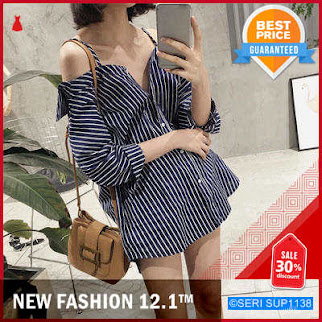SUP1138A105 Atasan Blus Slash Neck Model Casual BMGShop
