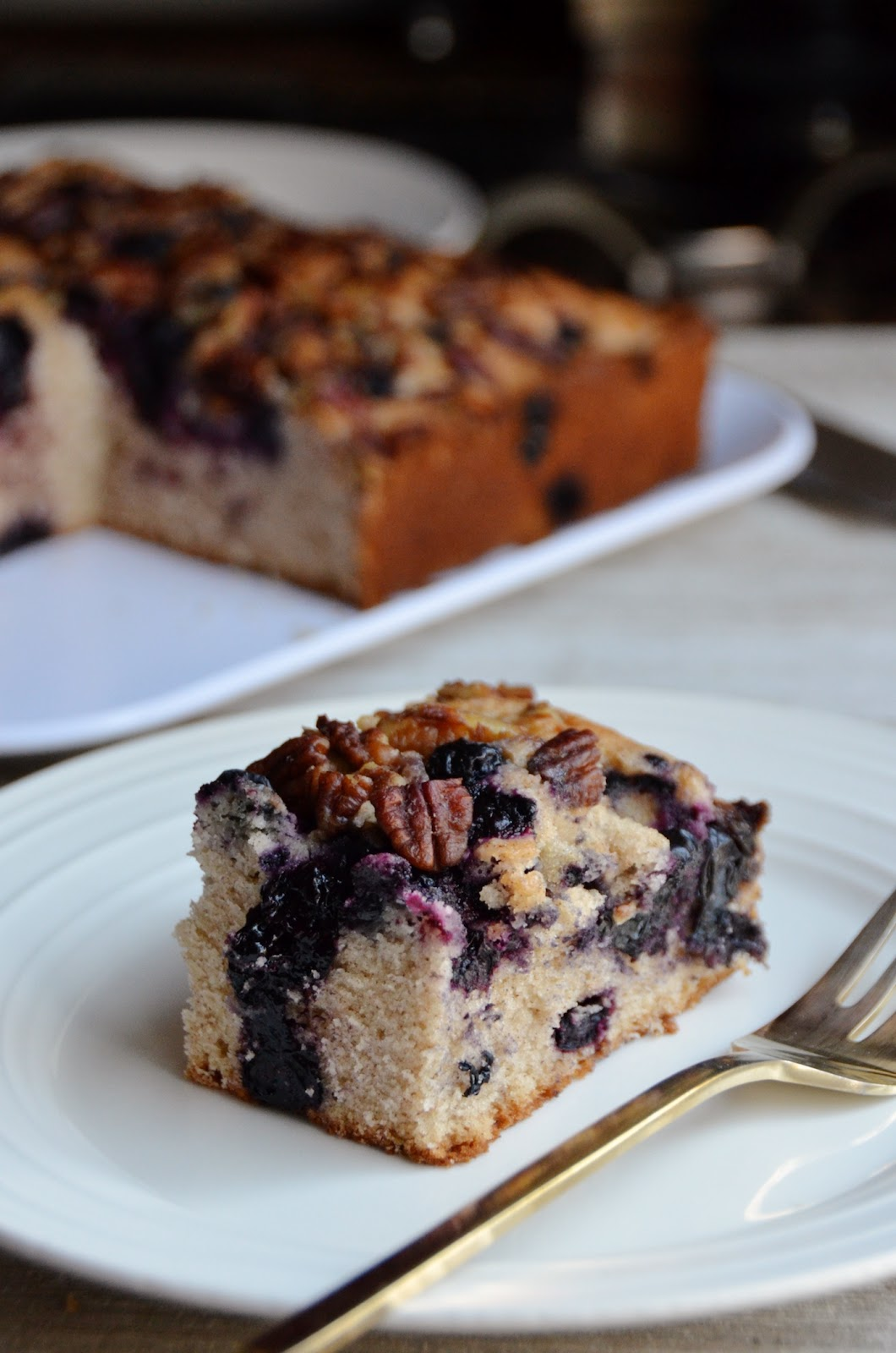 Cinnamon Blueberry Pecan Coffee Cake - Always Order Dessert