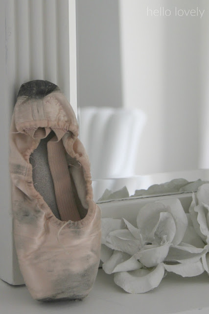 Pink ballet slipper and plaster roses on my piano - Hello Lovely Studio