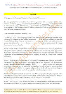 board resolution for creation of charge as per companies act 2013