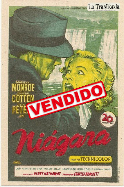 Niágara - Folleto de mano - Marilyn Monroe - Joseph Cotten