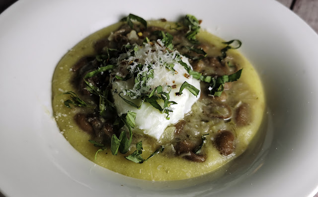 braised romano beans with poached eggs