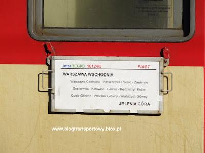 """Tablica kierunkowa na wagonie pociągu interREGIO 16124/5 """"Piast"""""""
