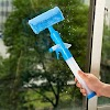 Hoocozi Window Scrubber Squeegee, Window Cleaner with Microfiber Scrubber Spray Bottle for Window Shower Floor Car Glass