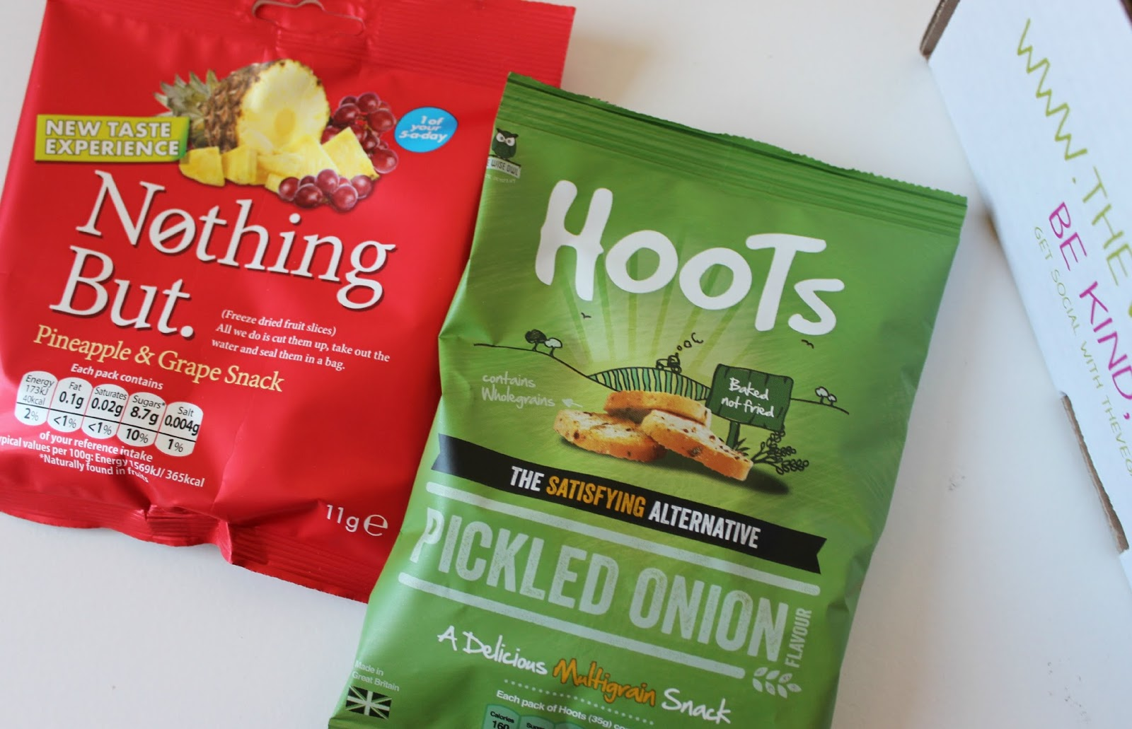A picture of Nothing But Pineapple & Grape Snack and Hoots Snacks Picked Onion Flavour