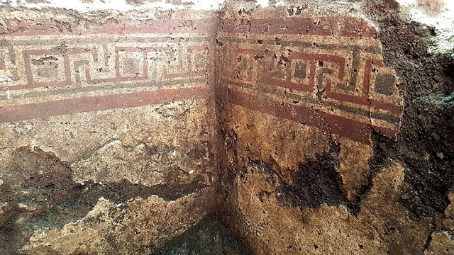 Messapic tomb painted with meanders discovered in Manduria, Apulia