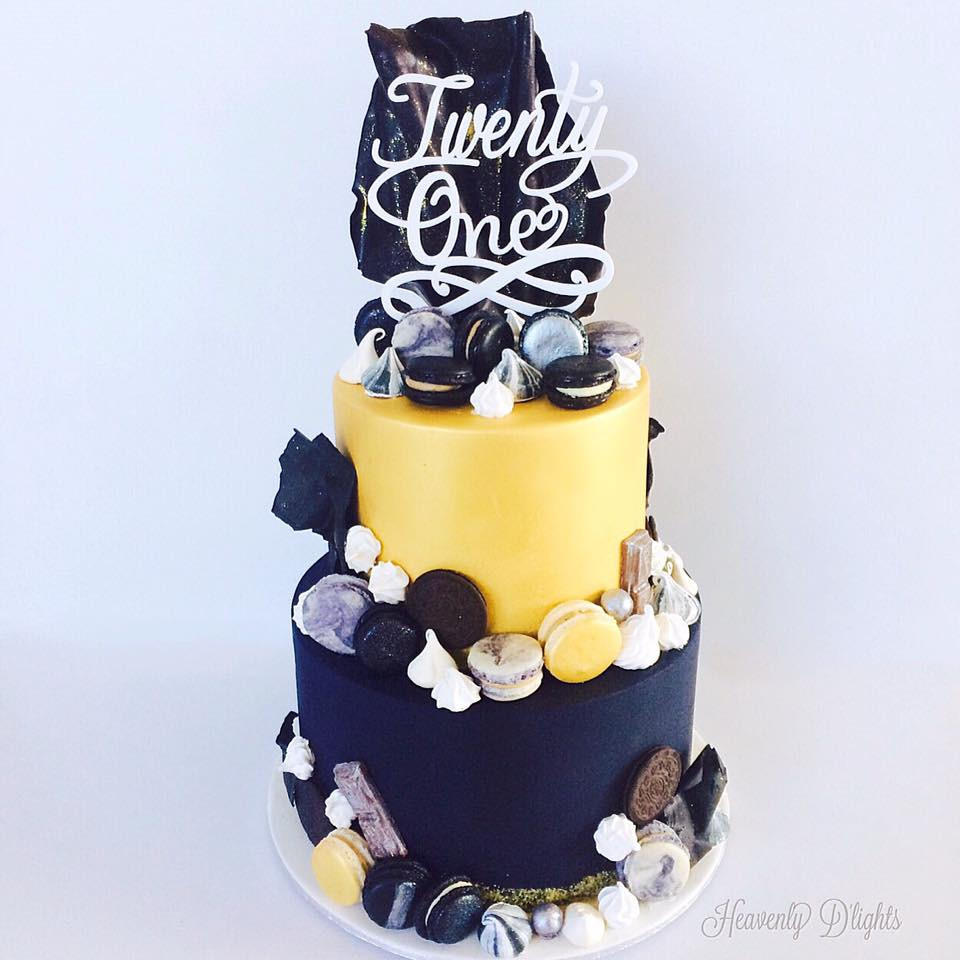 Heavenly Dlights Black And Gold Cake For 21st Birthday