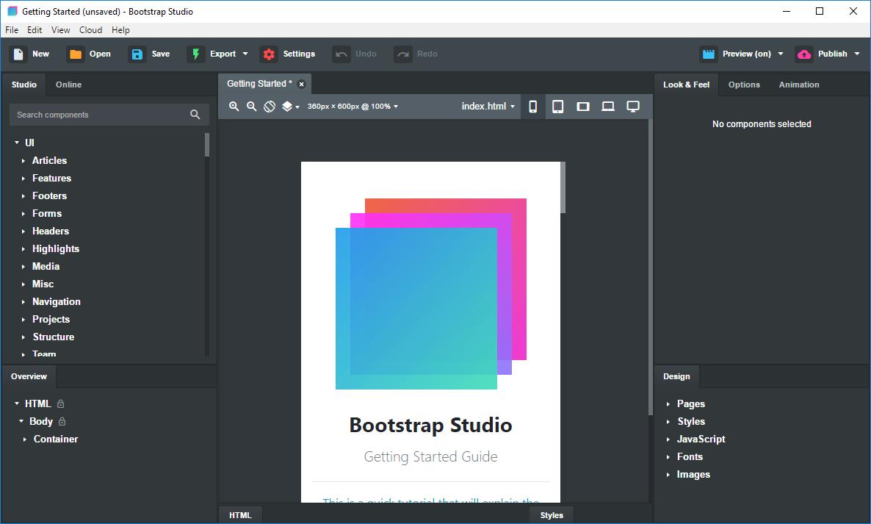 تحميل برنامج Bootstrap Studio 5.1.1 لإنشاء مواقع ويب جميلة وجذابة وسريعة الاستجابة