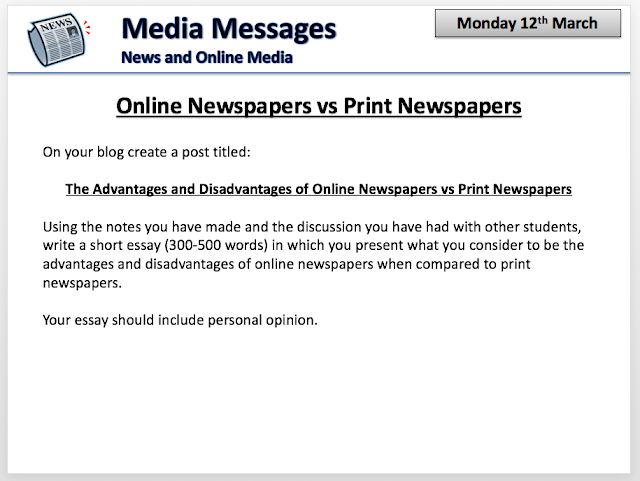 H Media Studies Online Newspaper Vs Print Newspaper Essay This Is An Advantage Compared To Print Newspapers Because With A Print  Newspaper The Paper Could Get Lost