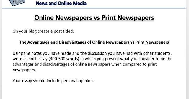 advantages and disadvantages of online newspapers