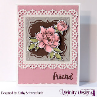 Stamp/Die Duos: Hello Friend, Custom Dies:  Pierced Rectangles, Layered Lacey Squares, Celebration Words, Paper Collection: Shabby Pastels