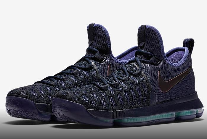 """competitive price f9aa4 4b031 The Nike KD 9 Dark Obsidian takes an ominous approach to Kevin Durant s  latest signature sneaker to match the Warriors  new """"Super Villain""""  approach to ..."""