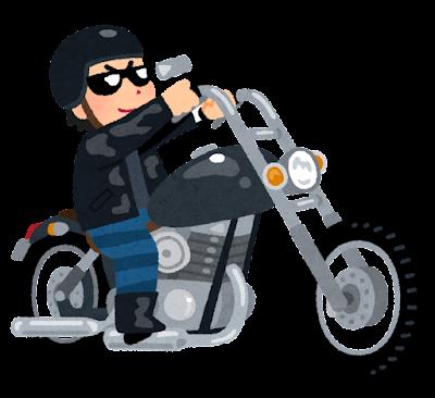 アメリカンバイクに乗る人のイラスト