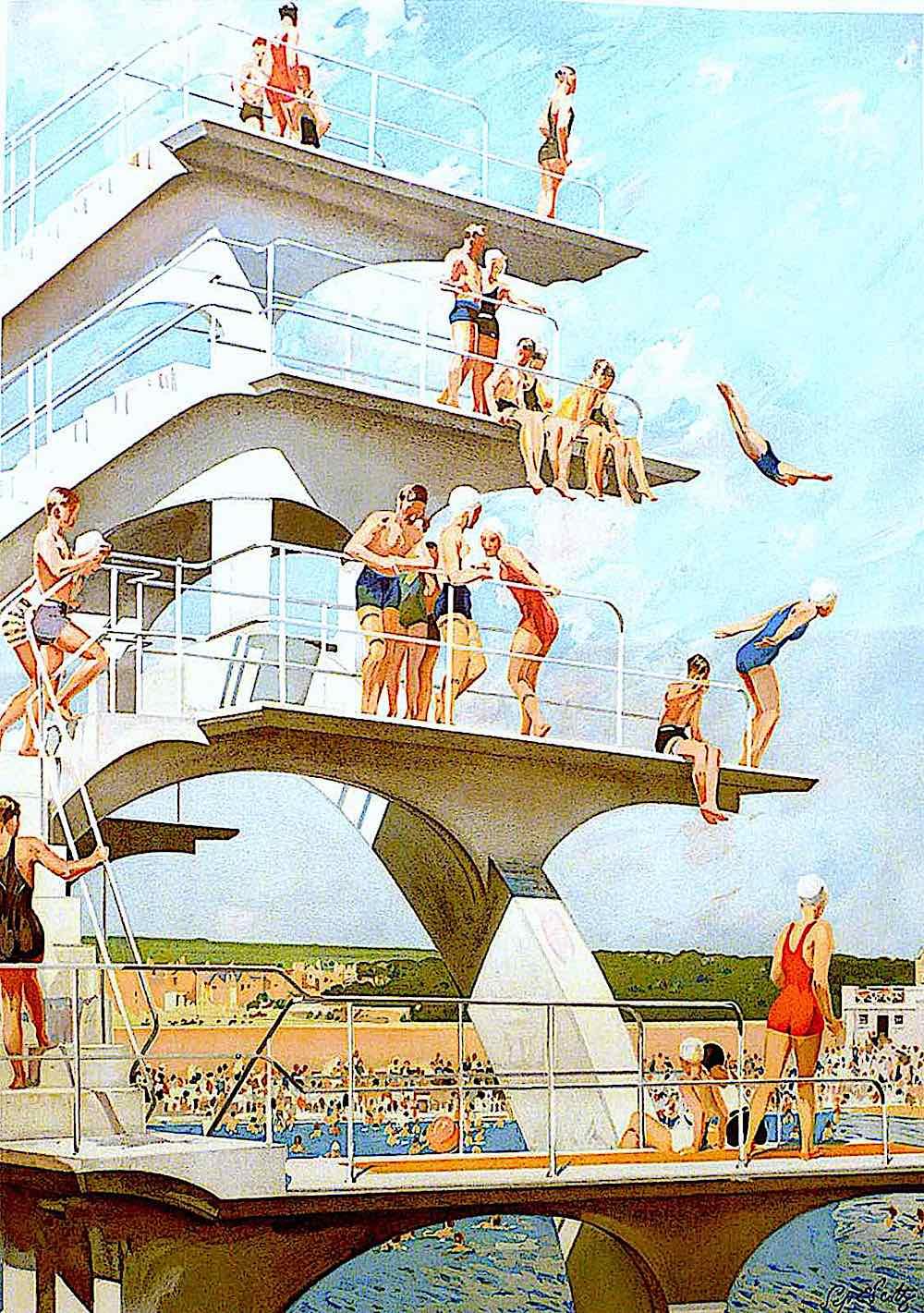 Septimus Edwin Scott, a diving platform at the beach