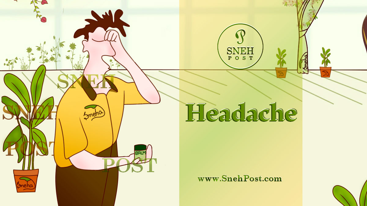 Skipping meals causes headache: a yellow shirt and brown pant wearing man holding his head and a green bottle of balm in a hand. The indoor plants and backyard plants outside the window of room in background!