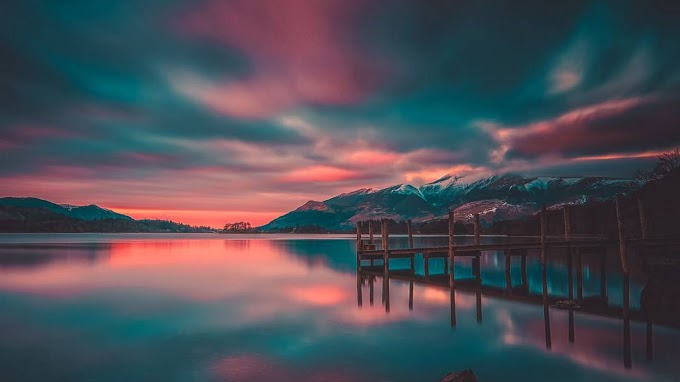 Paisagem, Cais, Lago, Montanhas, Pôr do Sol