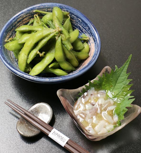 Edamame and octopus wasabi