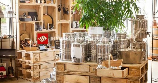 Mobiliario de tienda con palets y cajas de fruta - Mobiliario con palets ...