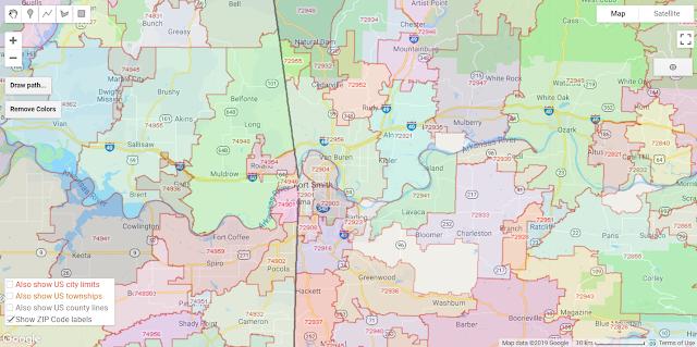 Arkansas ZIP Codes on Google Maps, colorized