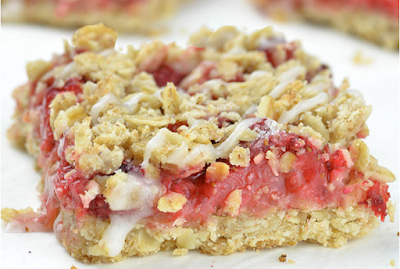 Skinny Strawberry Oatmeal Bars #strawberry#cake