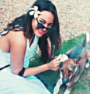 Sonakshi Sinha With Dog