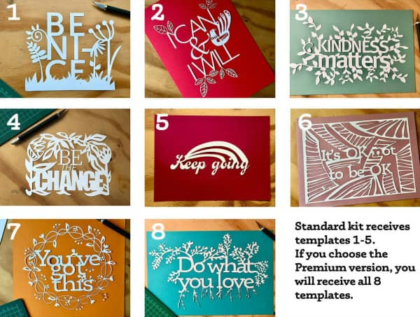positive affirmations paper cutting kit options
