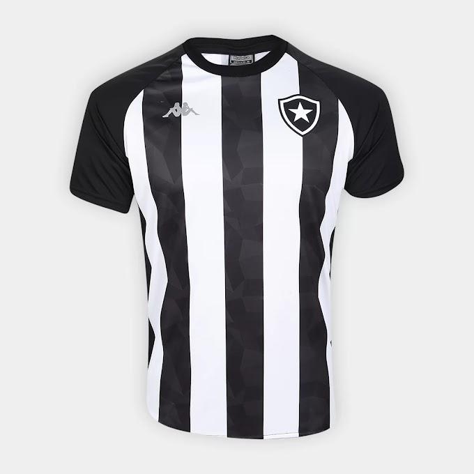Camisa Botafogo Stripe Supporter 19/20 Kappa Masculina - Branco e Preto