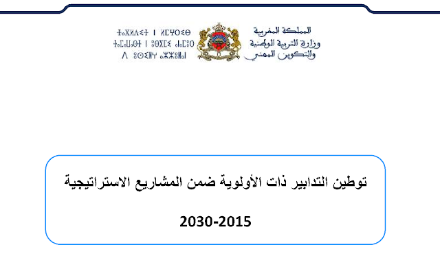 توطين التدابير ذات الأولوية ضمن المشاريع الاستراتيجية 2015-2030