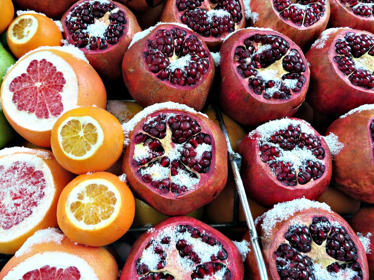 fruta invierno naranja granada grapefruit vitaminas