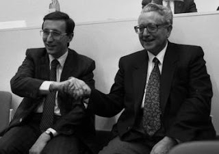 Pino Rauti with Gianfranco Fini (left), whom he replaced as  leader of the MSI party in 1990
