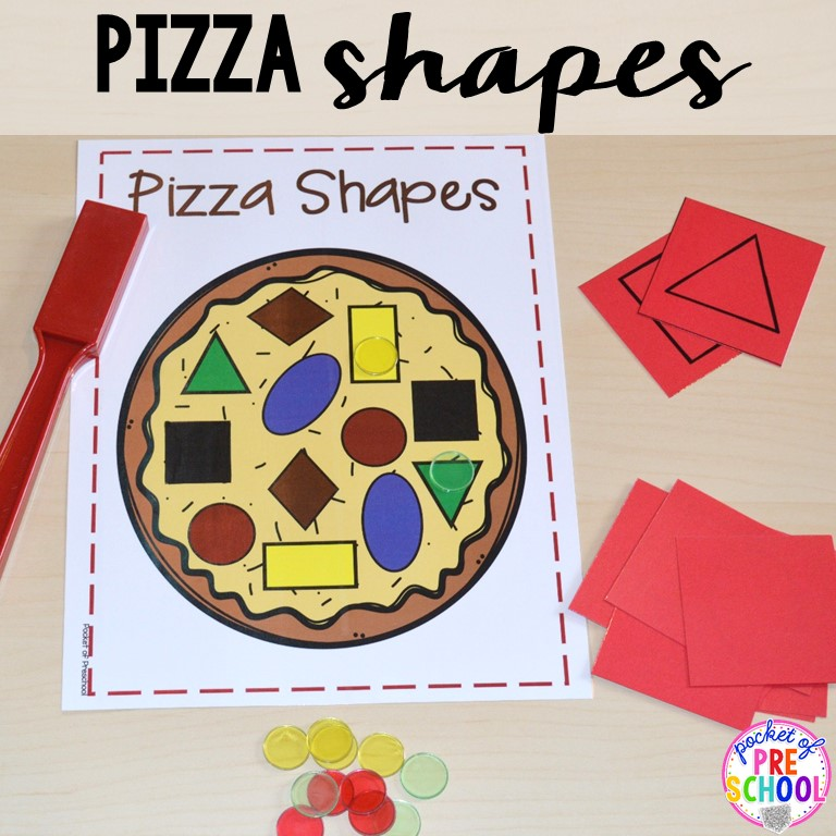 shapes theme preschool activities pizza centers for preschool pre k and kindergarten 128