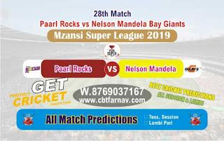 Mzansi Super League NMG vs PR 28th Today Match Prediction Reports