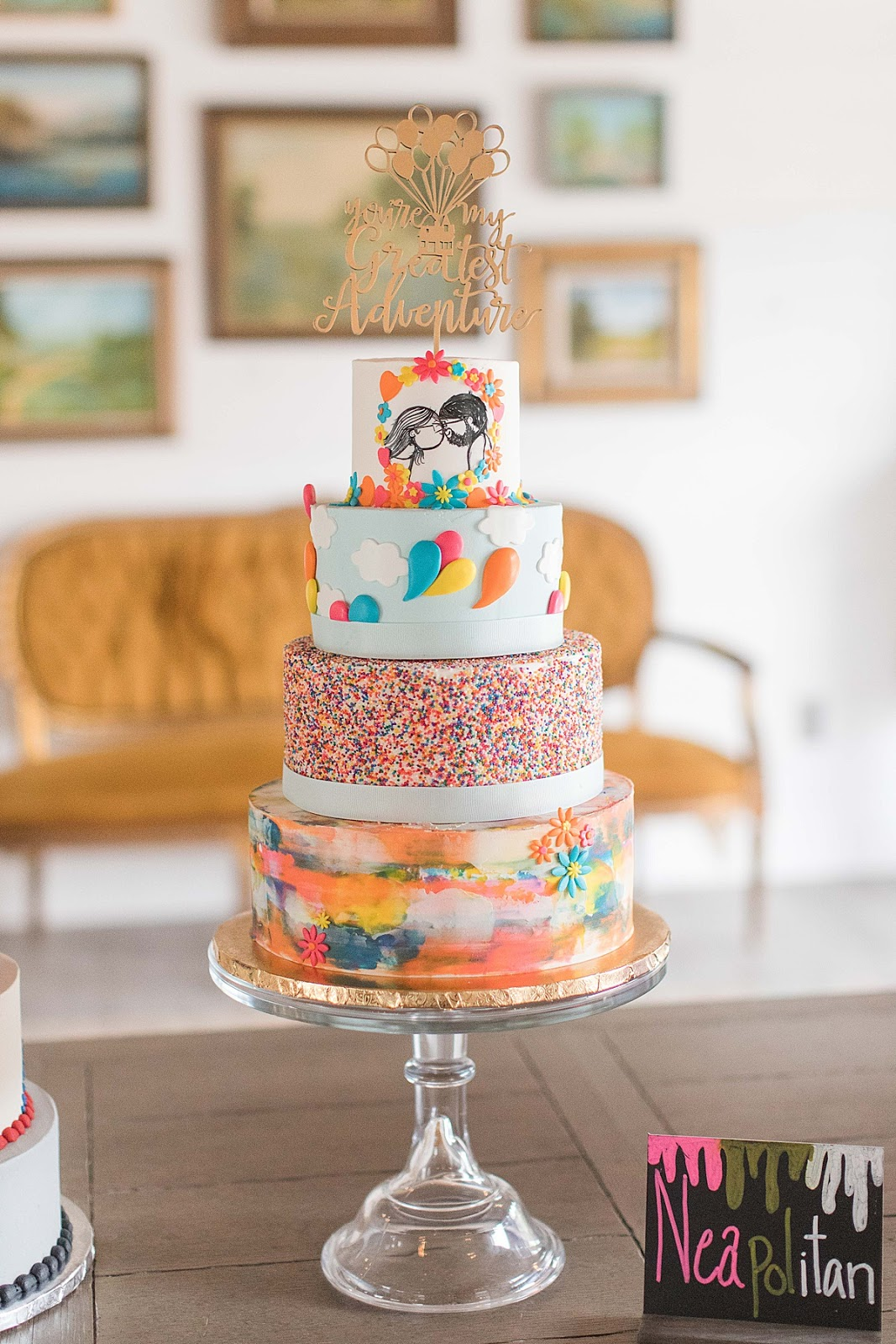 Disney themed Wedding Cake, Gruene Estate Wedding Venue Reception, UP Disney themed wedding cake