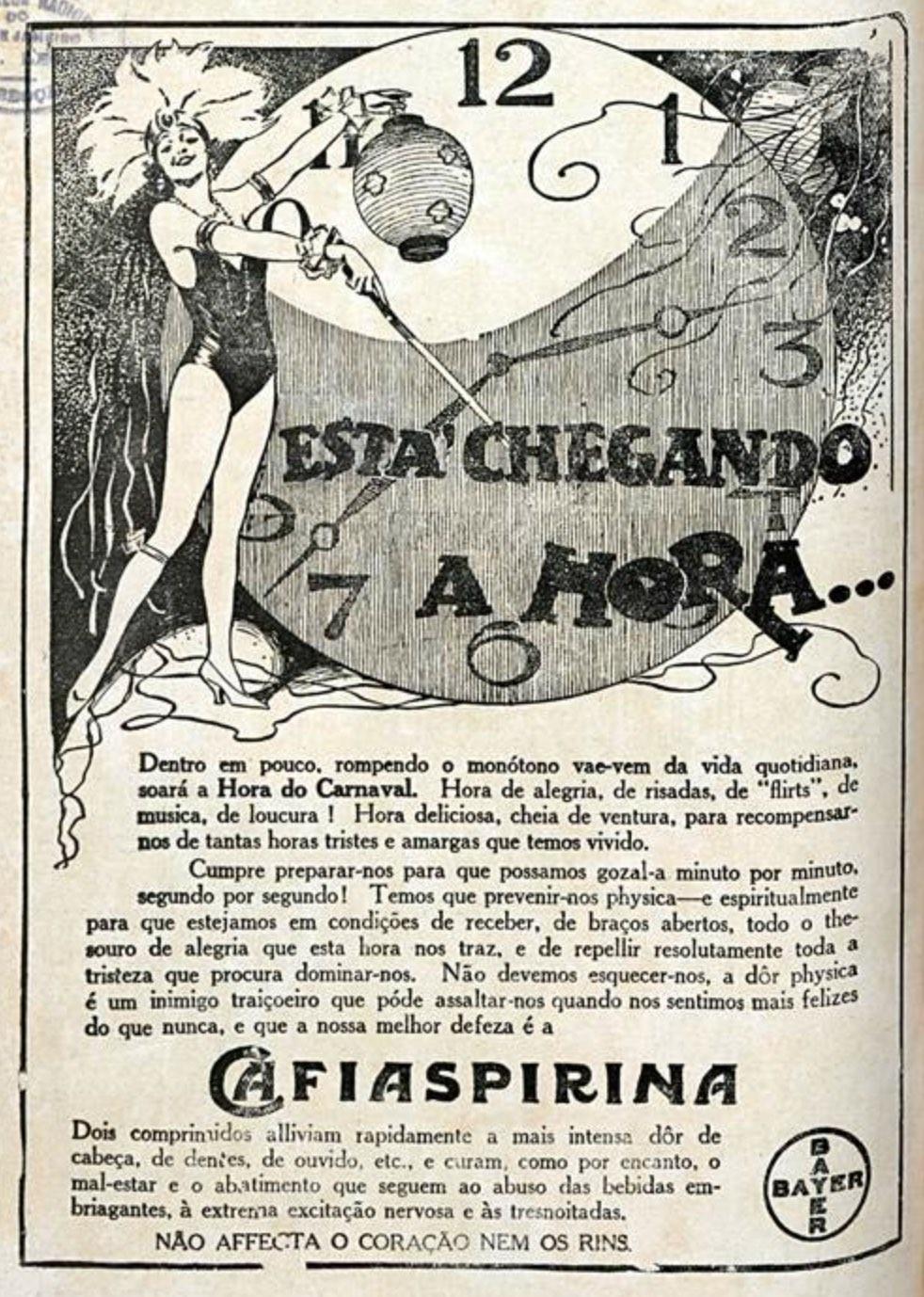 Propaganda antiga da Cafiaspirina promovendo o medicamento às vésperas do Carnaval de 1927
