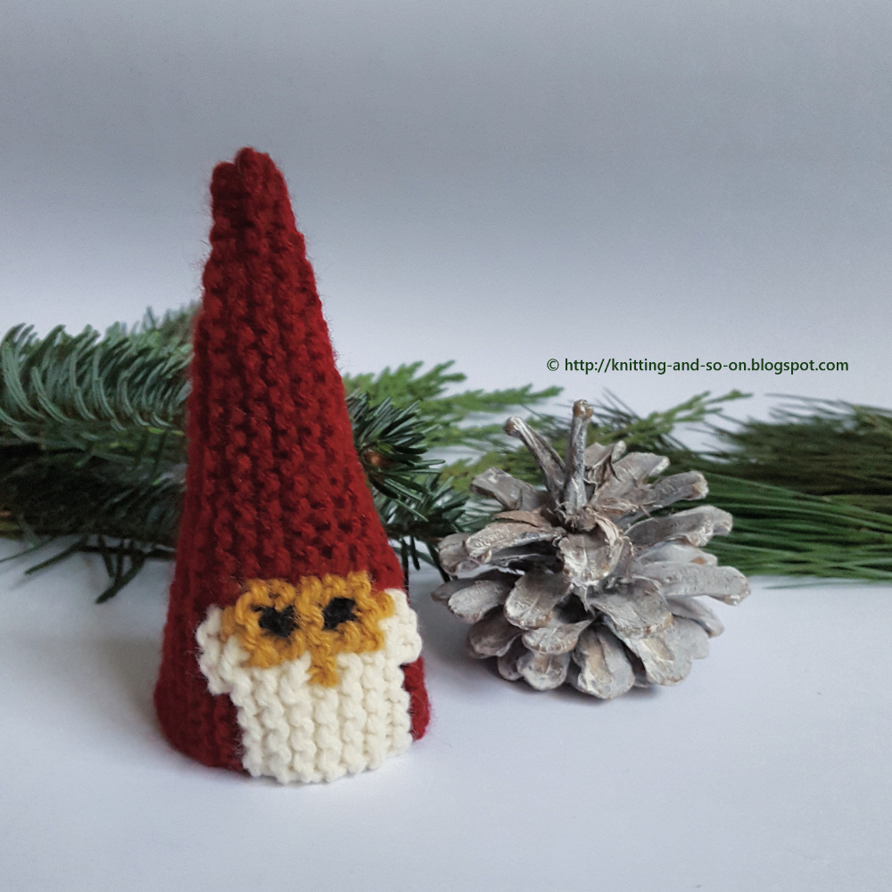 Christmas Gnome Knitting Pattern : Knitting and so on: Garter Stitch Christmas Gnome