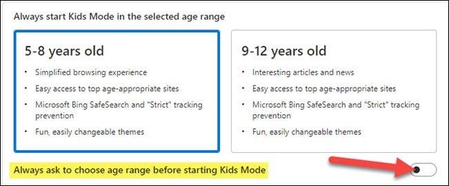اطلب دائمًا اختيار الفئة العمرية