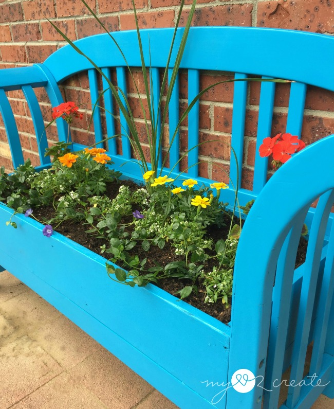 turn a bench into a planter