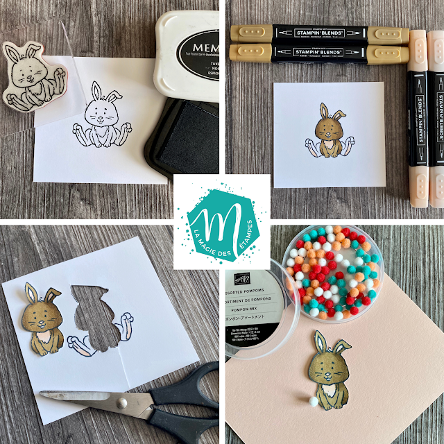 truc avec le lapin du jeu Bienvenue à Pâques et les mini pompons Stampin' Up!