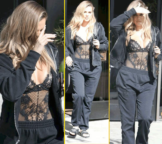 Khloe Kardashian walks on the streets of LA  see-through lingerie