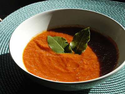 Homemade Tomato Soup with fresh bay leaf