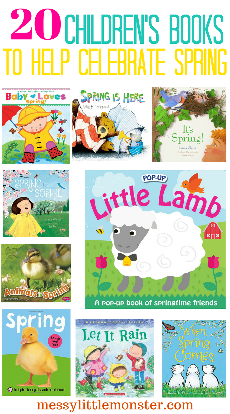 Spring themed books for kids.  This book list of 20 children's books to help celebrate Spring is perfect for toddlers, preschoolers and school kids.