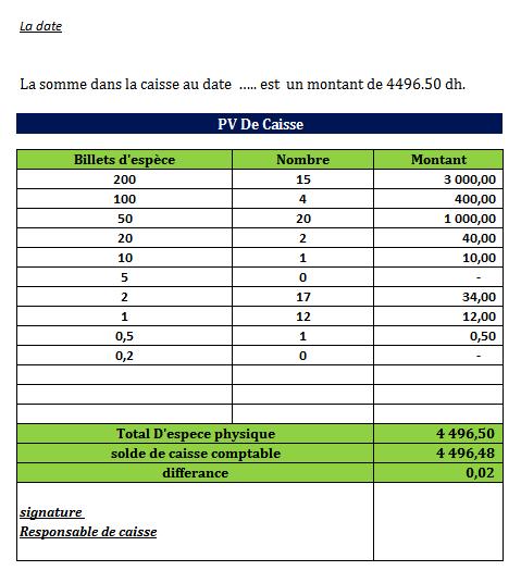 exemple PV de caisse Excel
